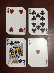 Playing cards laid out for nifty fifty card game