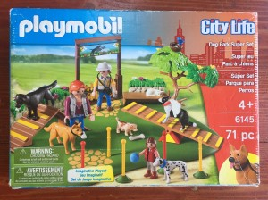 Playmobil City Life Dog Park Super Set box with dog agility ramp seesaw gate and more