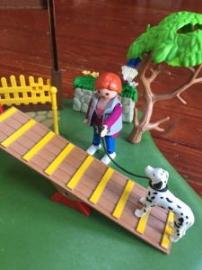 Playmobil Dog Park Super Set dog trainer with Dalmatian on leash going up agility training seesaw