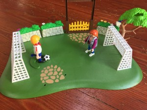Playmobil Dog Park Super Set used as soccer field with goals and ball