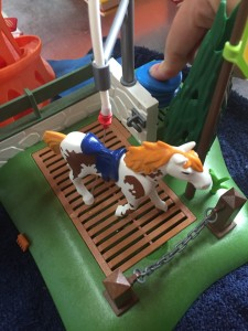 Water coming out of shower nozzle on Playmobil horse grooming station toy