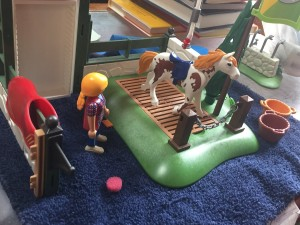 Playmobil horse grooming station toy set up on washcloth