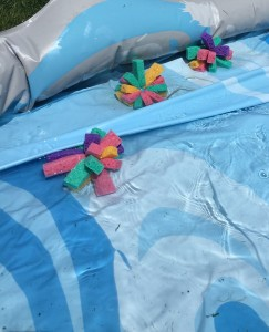 Homemade sponge bombs water balloon substitute replacements in inflatable pool