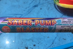 Saber Pump Blaster water gun close up of label on tube