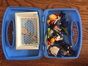 Playmobil soccer blue carry case suitcase for storing Playmobil
