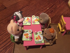 Calico Critters school lunch set wth tiny soup, plate, bread, spoon,
