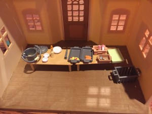Calico Critters School Lunch Set inside cozy cottage home