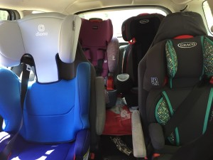Diono Cambria 2, Graco Turbobooster, Graco Nautilus 80 Elite, and Britax Grow with You highback boosters installed in two rows of 2012 Mazda5