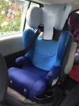 Diono Cambria 2 Highback booster car seat installed in captain's chair of middle row of 2012 Mazda5