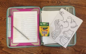 Crayola Light Up Tracing Pad in pink with pencil paper tracing sheets and colored pencils in Hearoo hard sided case