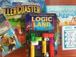 Solo single player games for kids scramble squares, Roller Coaster Challenge, Logic Land Enchanted Castle, Amaze, Three Little Piggies, and Rush Hour Junior