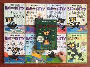 Nine Bad Kitty books by Nick Bruel