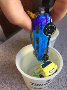 Hot Wheels Color Shifters car half blue and half purple after dunking in cold water