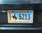 Wyoming license plate 2020 on car with bucking bronco pictured in front of mountains and river