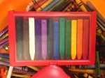 Melissa & Doug's Jumbo triangular crayons set of 10 colors in red plastic box with clear lid