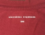 Universal Standard label inside merlot Tee Rex shirt in size 2XS