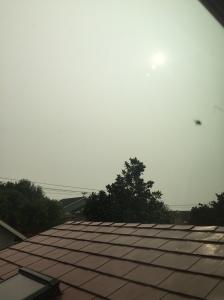 Sun hidden by smoke pollution from wildfire smoke in Washington state