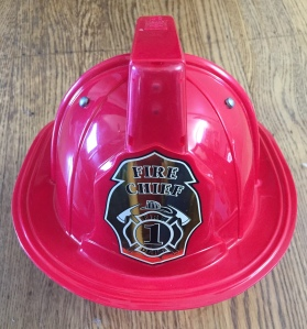 Kids fire chief red plastic fire helmet costume accessory