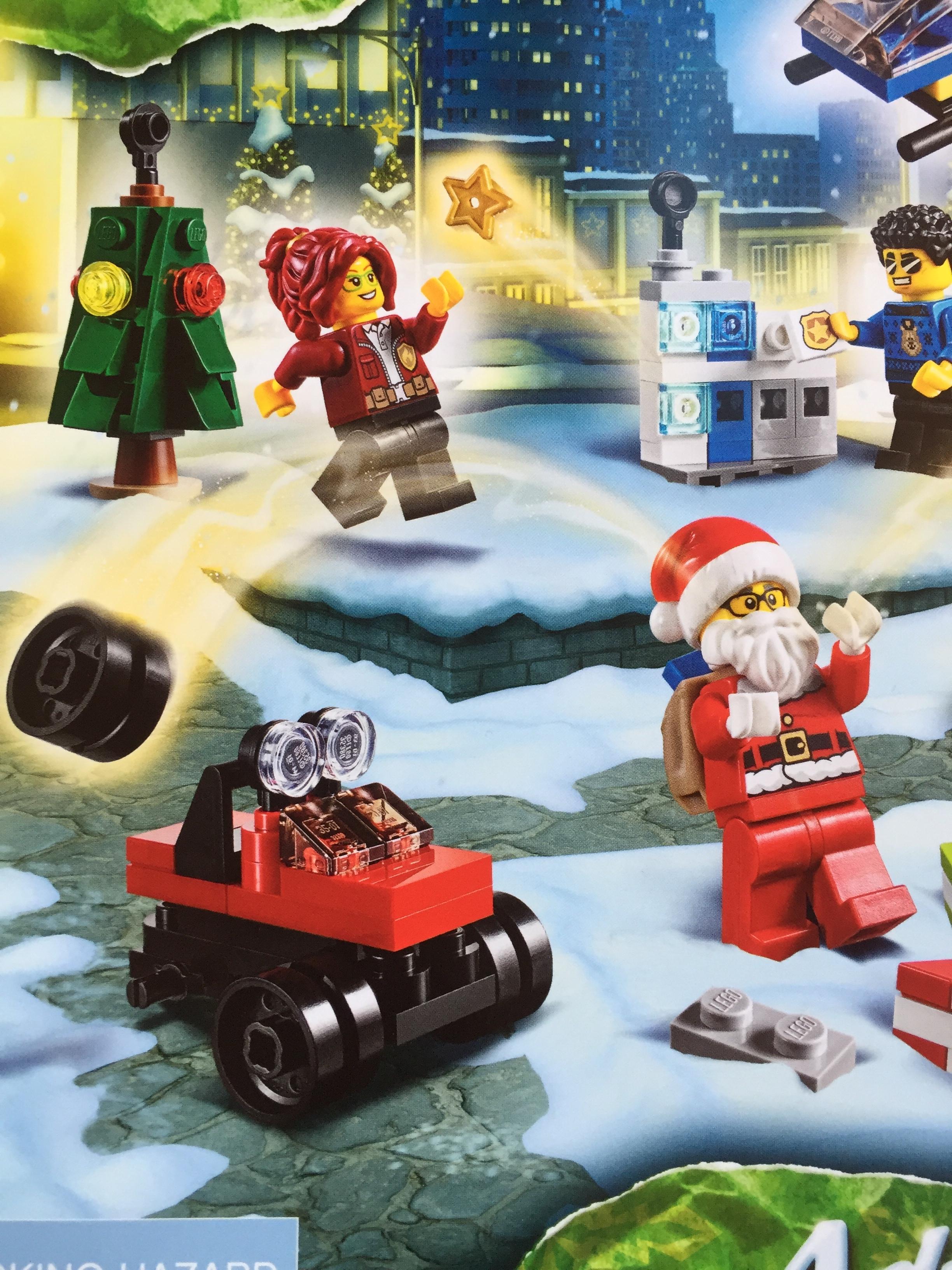 Lego City 2020 Kid Advent Calendar box close up on Santa,