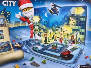 Lego City Advent calendar back side of box showing fold down flap and open door