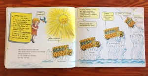 Page spread with magic school bus ascending into sky in