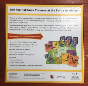 Back of Pokemon Battle Academy Box card game for kids