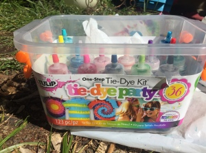 Tulip One-Step Tie-Dye Kit Party box with bottles of dye inside