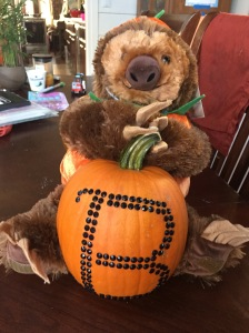 Stuffed sloth from Build a Bear wearing pumpkin costume holding pumpkin decorated with black adhesive rhinestone stickers