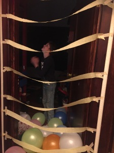 Child surprised by birthday balloon blast when opening bedroom door