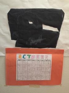 Child's artwork including October 2020 calendar