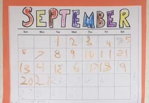 Child's homemade calendar September 2020