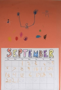 Five year old kid homemade calendar September 2020 with decorations