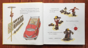 Page spread from Curious George and the Firefighters Stories to Share by Margret and H.A.