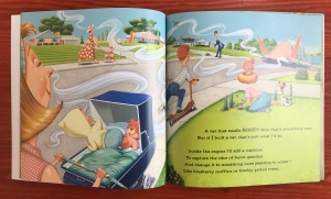 car that smells good illustration page spread from If I Built a Car picture book for kids by Chris Van Dusen