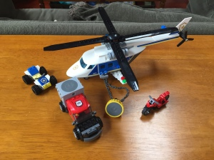 Lego helicopter police chase set with ATV motorcycle and armored vehicle
