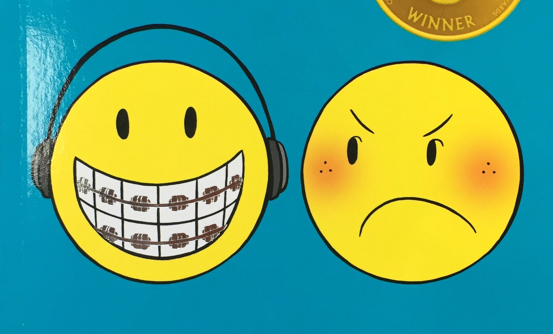 Sisters book cover by Raina Telgemeier close up of smiley face with braces and headphones and angry face