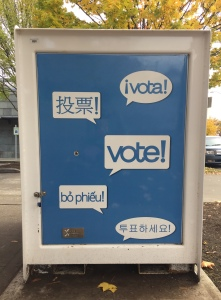 Ballot drop box with vote in multiple languages including English, Vietnamese, and Spanish