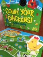 Count Your Chickens mother hen on board in front of box