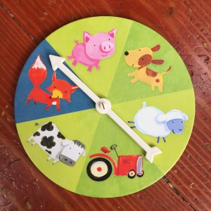 Count Your Chickens cooperative board game for young kids spinner with pig, dog, sheep, cow, fox, and tractor