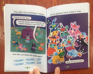 Page spread from Unicorn Dairies Bo the Brave book three by Rebecca Elliott