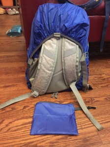 ZM-Sports backpack rain waterproof cover on backpack with straps showing next to storage pouch