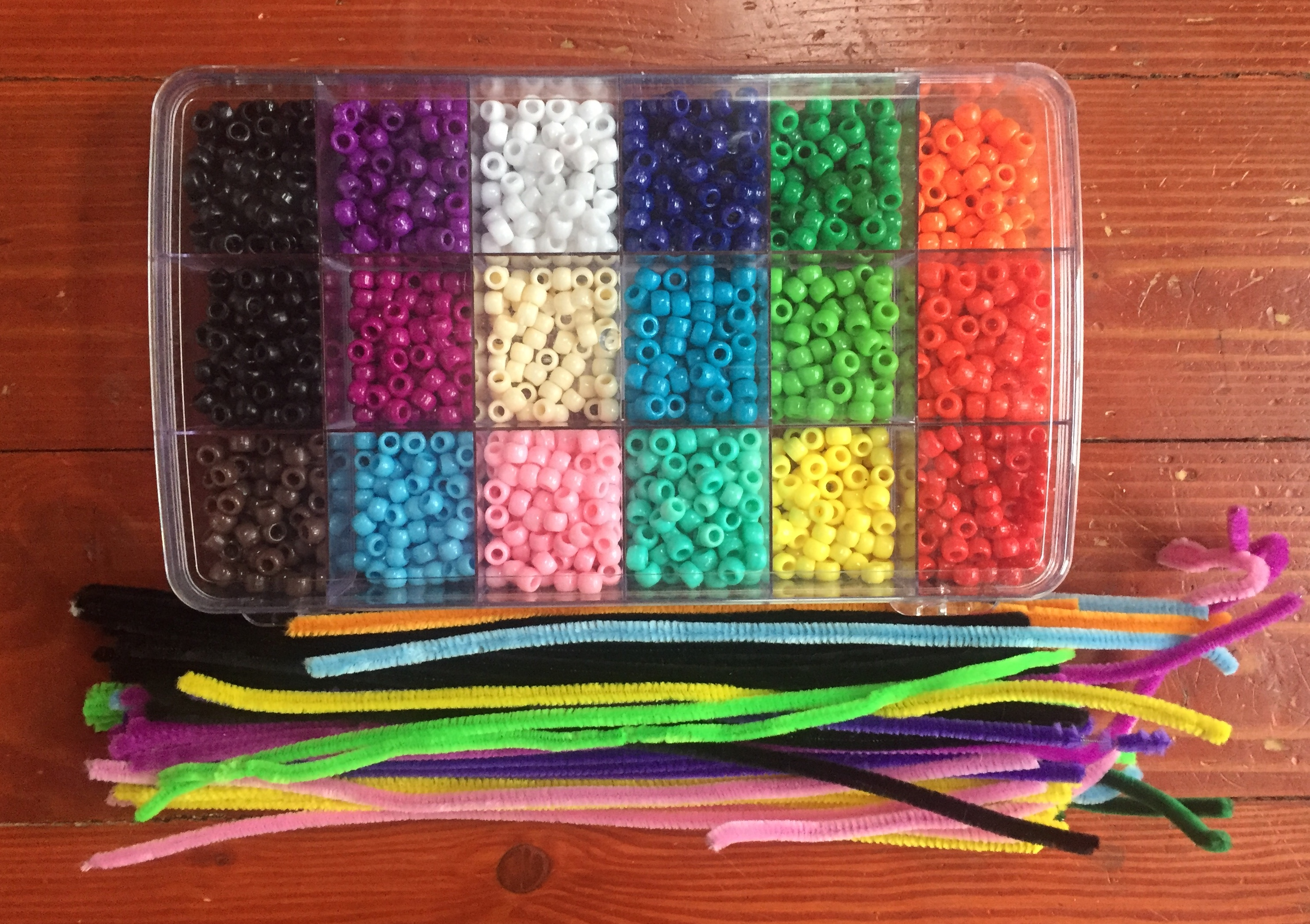 Rainbow pony beads in clear case with compartments and