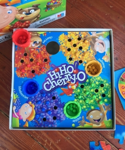 Hi Ho! Cherry-O board game for preschoolers with cardboard printed trees for cherries, oranges, blueberries, and green apples