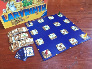 Labyrinth board game from Ravensburger with pieces laid out in front of box