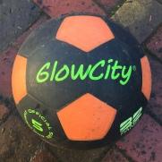 Glowcity light up soccer ball kids size 5 black and orange