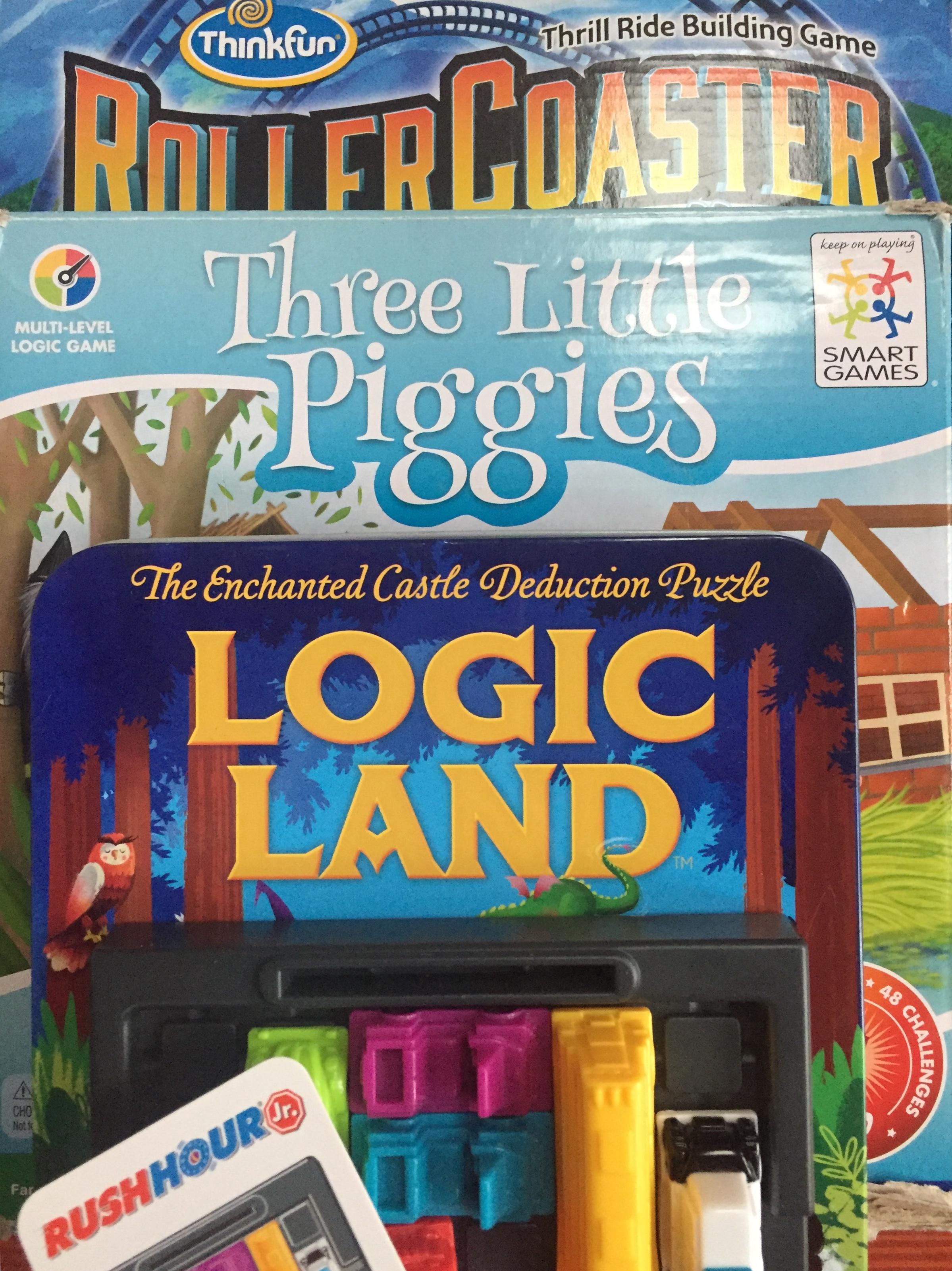 Logic puzzles for kids Roller Coaster Challenge Three Little Piggies Logic Land Castle and Rush Hour Jr