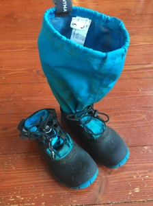 Mymayu kids' Traveler rain boots in bright blue size 1 with upper fabric tucked into shoe portion