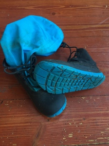 Mymayu bright blue rain boots for kids with nonslip sole showing