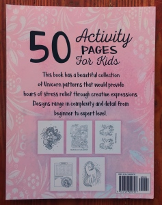 Unicorn Activity Book for kids back cover with sample pages of coloring, word search, maze, and dot to dot activities