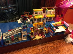NILO big blue building brick Lego compatible base plate with kids' creations on top to make city